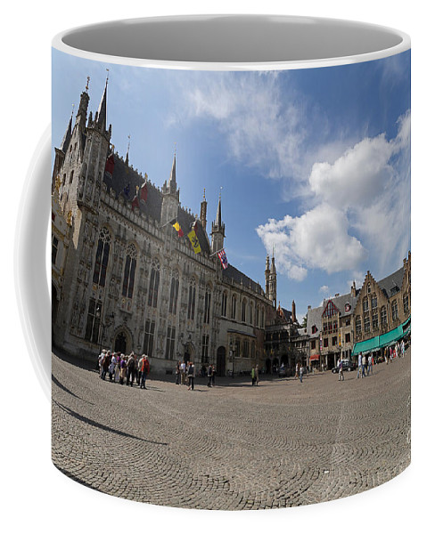 Burg Square Coffee Mug featuring the photograph Burg Square In Bruges Belgium by Louise Heusinkveld
