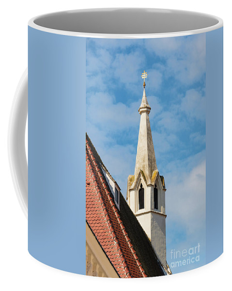 Krems Austria Burgerspitalkirche Church Churches Spire Spires Steeple Steeple Cross Crosses Place Of Worship Places Of Worship Architecture Building Buildings Structure Structures City Cities Cityscape Cityscapes Coffee Mug featuring the photograph Burgerspitalkirche by Bob Phillips
