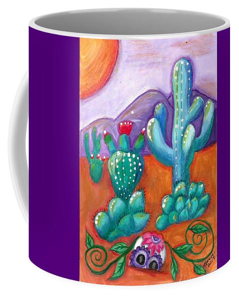 Sugar Skull Coffee Mug featuring the painting Buried Sugar Skull in Desert by Monica Resinger