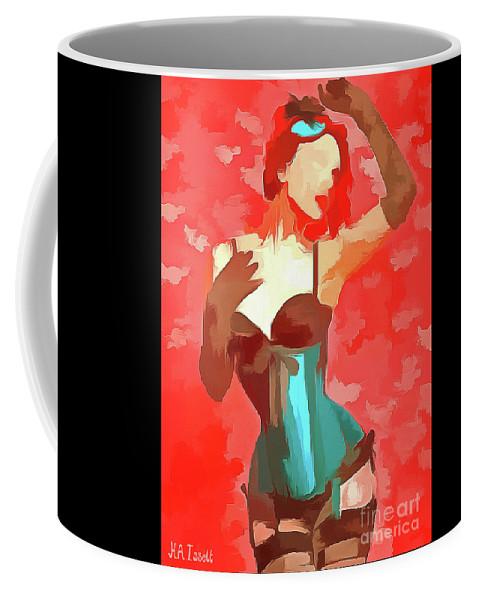 Lady Coffee Mug featuring the digital art Burlesque Red by Humphrey Isselt