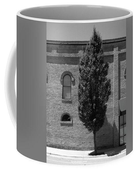 America Coffee Mug featuring the photograph Burlington, North Carolina Sidewalk Bw by Frank Romeo