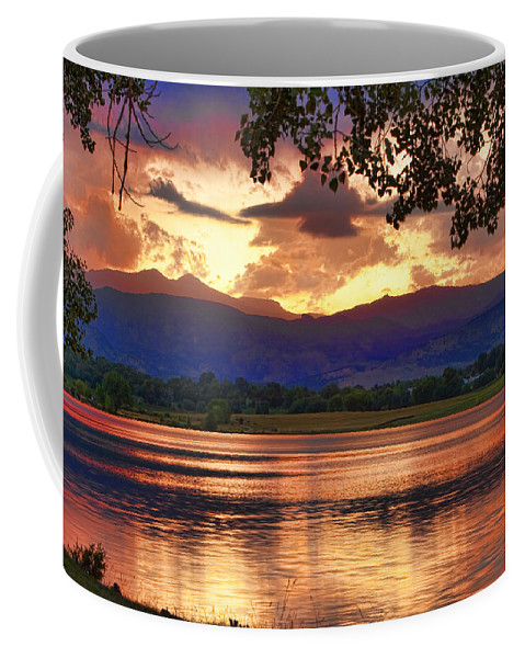 Sunsets Coffee Mug featuring the photograph Burning Lake  by James BO Insogna