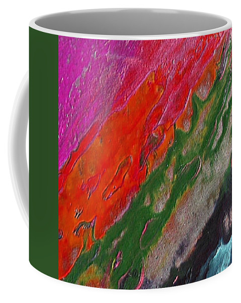 Abstract Encaustic Painting Coffee Mug featuring the painting Burning Lava by Dragica Micki Fortuna