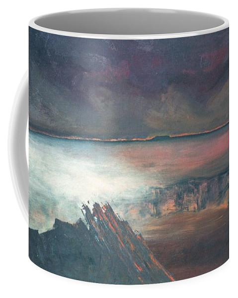 Lanscape Mountain Fire Desire Coffee Mug featuring the painting Burning Soul by Peta Mccabe