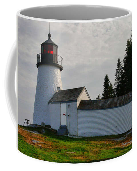 New England Lighthouse Coffee Mug featuring the photograph Burnt Island Lighthouse - The Other Side by Nancie DeMellia