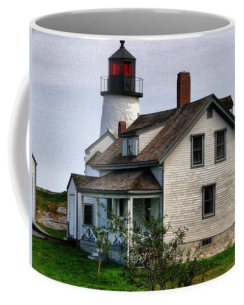 New England Lighthouse Coffee Mug featuring the photograph Burnt Island Lighthouse Side View by Nancie DeMellia