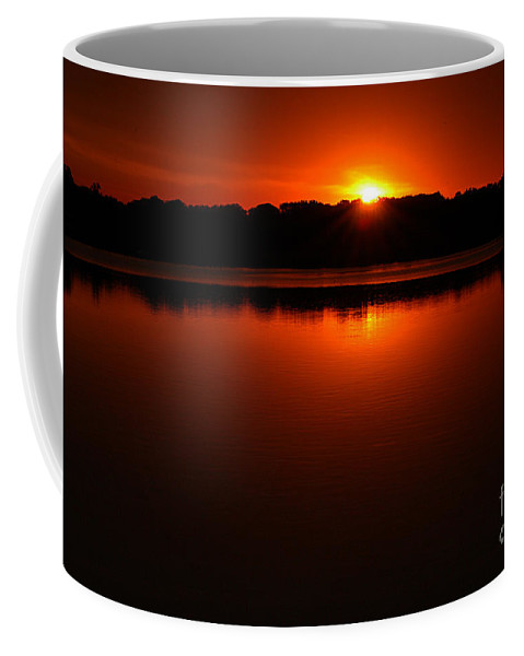 Clay Coffee Mug featuring the photograph Burnt Orange Sunset On Water by Clayton Bruster