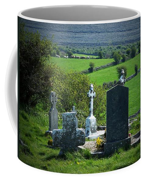 Irish Coffee Mug featuring the photograph Burren Crosses County Clare Ireland by Teresa Mucha