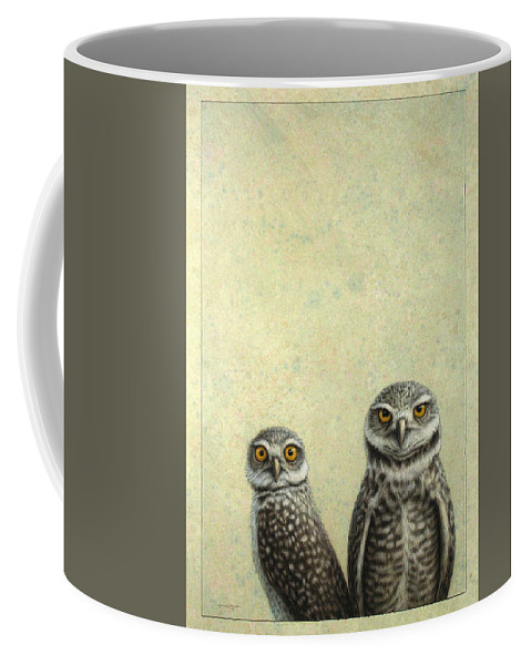 Owls Coffee Mug featuring the painting Burrowing Owls by James W Johnson