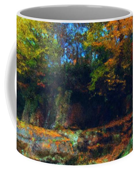 Autumn Coffee Mug featuring the digital art Bursting Autumn Cheer by Stephen Lucas