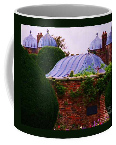 Burton Agnes Art Historic Home Yorkshire England Landmark Elizabethan Architecture Roof Stock Shot Historic Building Unique Design Greenery Outdoors Travel Tourism Canvas Print Recommended Metal Frame Wood Print Available On Phone Cases Pouches Shower Curtains Mugs Tote Bags And T Shirts Coffee Mug featuring the photograph Unique Roofs At Burton Agnes Hall, Yorkshire by Marcus Dagan