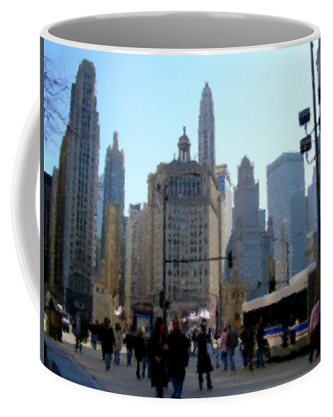 Archtecture Coffee Mug featuring the digital art Bus On Miracle Mile by Anita Burgermeister