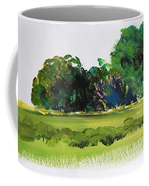 Bush Coffee Mug featuring the painting Bushes - English Devon Countryside by Mike Jory