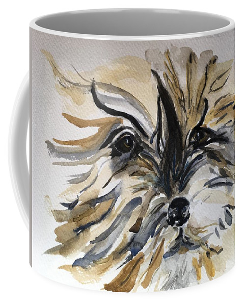 Dog Coffee Mug featuring the painting Buster by Kate Byrne