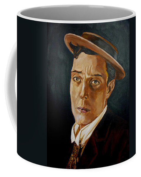 Comedy Coffee Mug featuring the painting Buster Keaton Tribute by Bryan Bustard