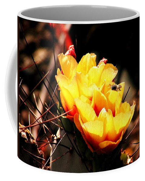 Yellow Cactus Coffee Mug featuring the photograph Busy Bee by Marilyn Smith