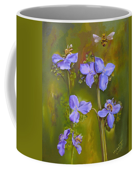 Bee Coffee Mug featuring the painting Busy Bees by Myrna I