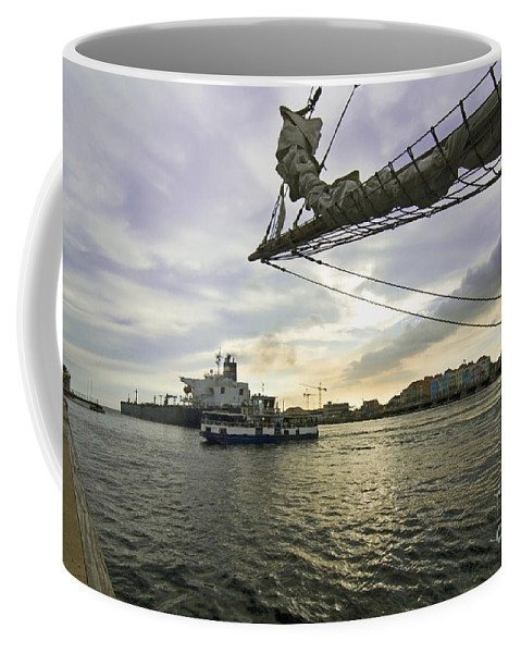 Coffee Mug featuring the photograph Busy Ship Channel At Sunset by Sven Brogren