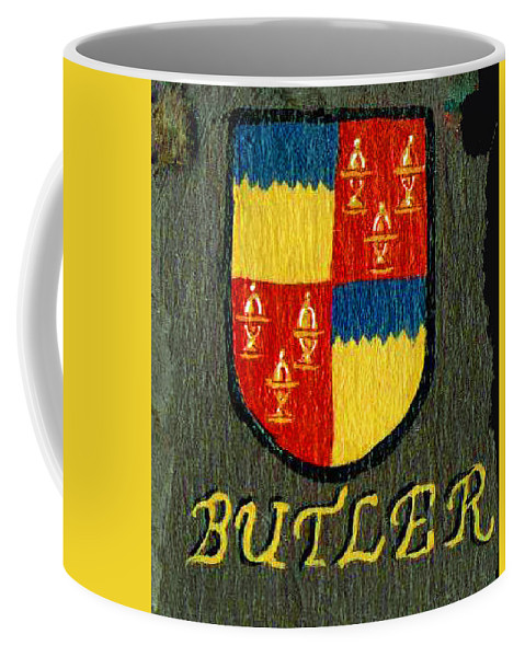 Butler Coffee Mug featuring the painting Butler Family Shield by Barbara McDevitt