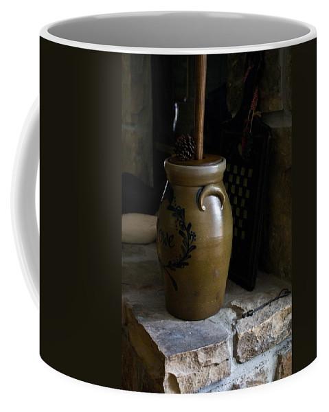 Butter Coffee Mug featuring the photograph Butter Churn on Hearth Still Life by Douglas Barnett