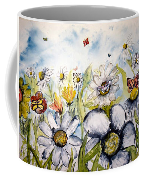 Butterfly Coffee Mug featuring the painting Butterflies And Flowers by Derek Mccrea