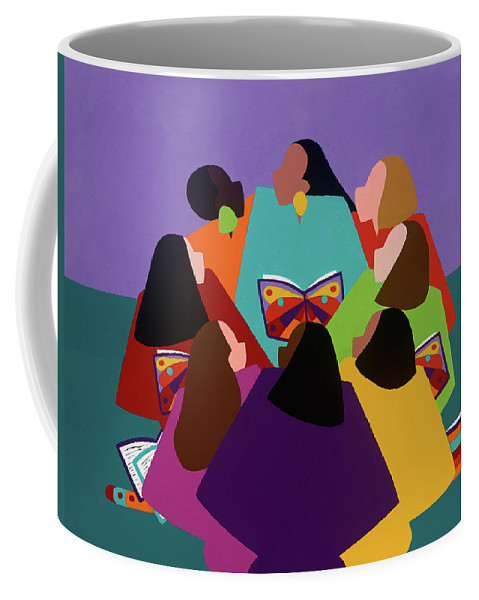 Multicultural Coffee Mug featuring the painting Butterflies Dream by Synthia SAINT JAMES