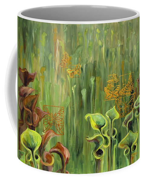 Acrylic Coffee Mug featuring the painting Butterflies In The Bog by Suzanne McKee