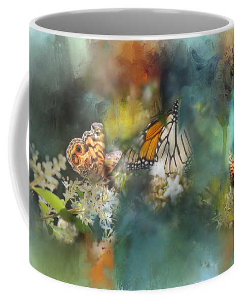 Photograph Coffee Mug featuring the photograph Butterflies On A Spring Day by Toni Hopper