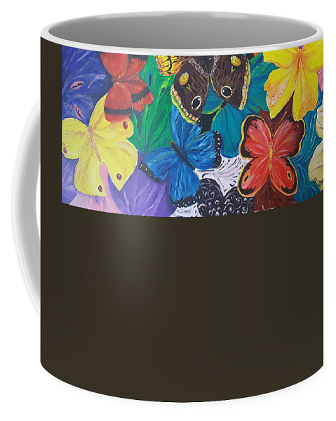 Butterfly Coffee Mug featuring the painting Butterflies 2 by Rita Fetisov