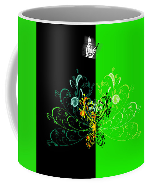 Flower Coffee Mug featuring the digital art Butterfly And Ornament by Svetlana Sewell