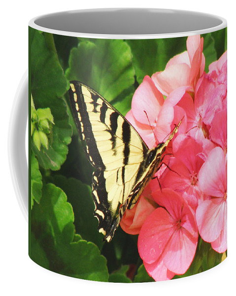 Geranium Coffee Mug featuring the photograph Butterfly And The Geranium by Debby Pueschel