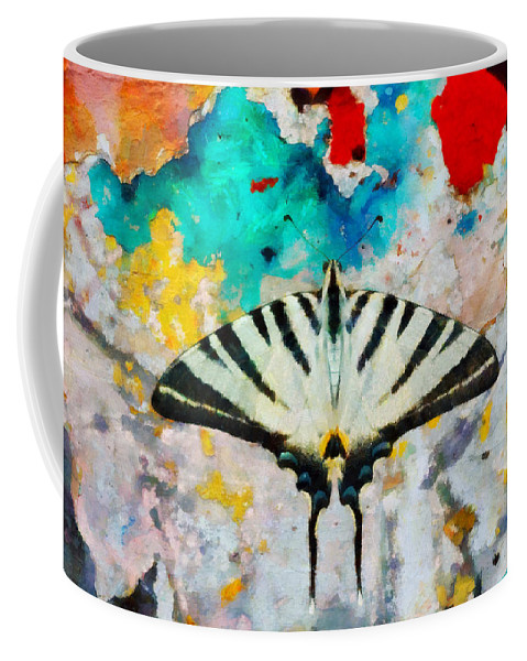 At65 Coffee Mug featuring the digital art Butterfly by Antonella Torquati