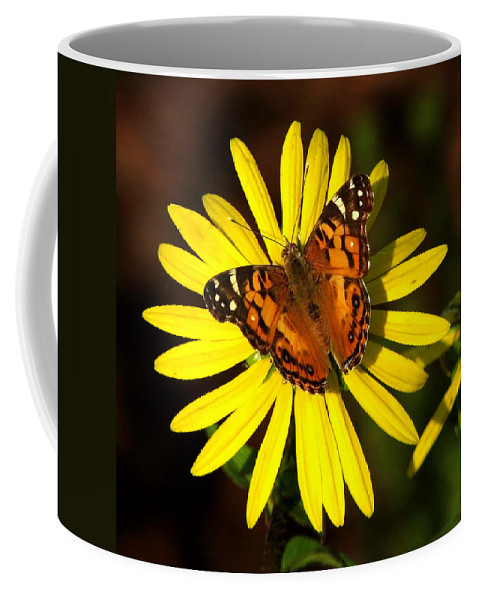 Nature Coffee Mug featuring the photograph Butterfly Bloom by Peg Urban