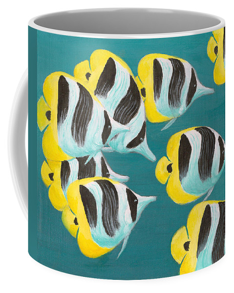 Fish Coffee Mug featuring the painting Butterfly Fish by Adam Johnson