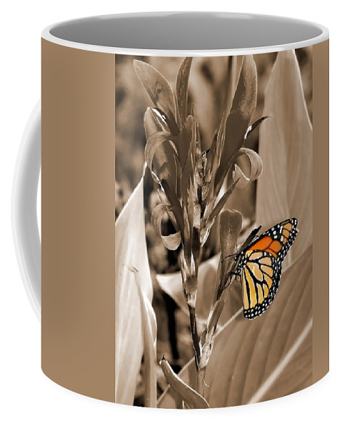 Macro Coffee Mug featuring the photograph Butterfly In Sepia by Lauren Radke