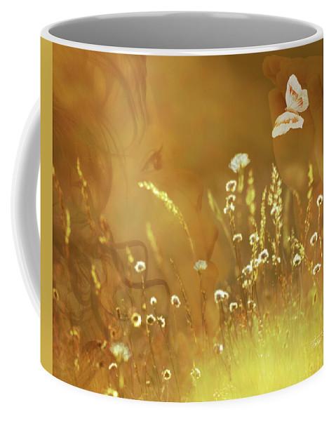 Fleurogeny Art Coffee Mug featuring the digital art Butterfly Kiss by Torie Tiffany