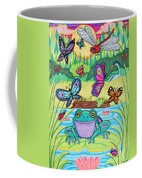 Butterfly Coffee Mug featuring the drawing Butterfly Lake by Nick Gustafson