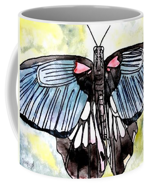 Watercolor Coffee Mug featuring the painting Butterfly Macro by Derek Mccrea