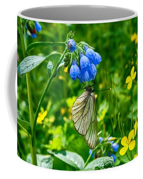 Butterfly Coffee Mug featuring the digital art Butterfly On A Flower by Tatiana Tyumeneva