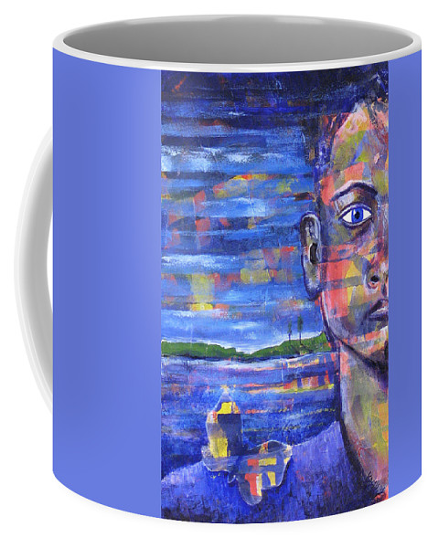 Face Coffee Mug featuring the painting Butterfly On My Shoulder by Rollin Kocsis