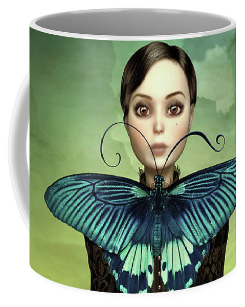 Butterfly Coffee Mug featuring the mixed media Butterfly Portrait In The Meadow by Britta Glodde