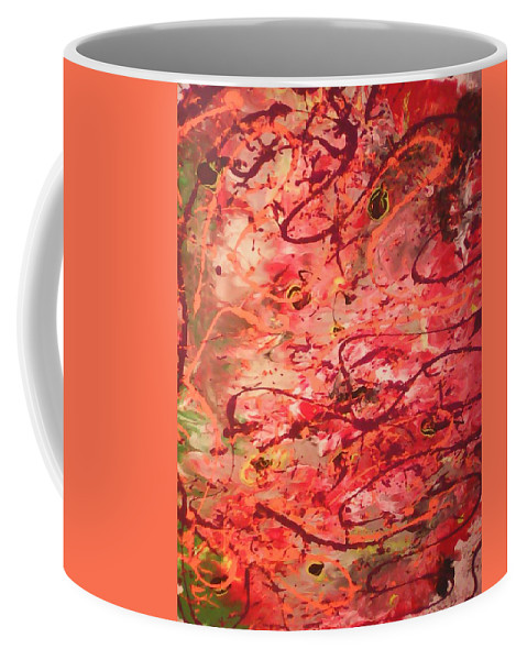 Abstract Art Acrylic On Canvas Coffee Mug featuring the painting Butterfly Wing Nr1 by Marcela Hessari