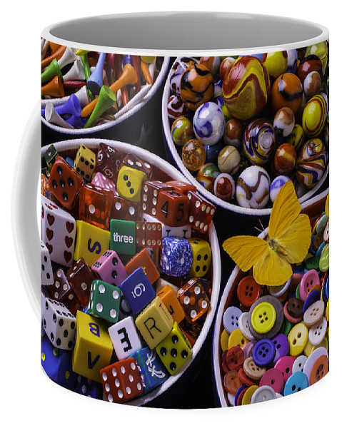 Bowls Coffee Mug featuring the photograph Butterfly With Bowls by Garry Gay