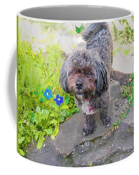 Dog Coffee Mug featuring the mixed media Buttons Magoo by Samuel Zylstra
