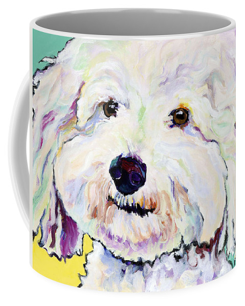 Bischon Coffee Mug featuring the painting Buttons  by Pat Saunders-White