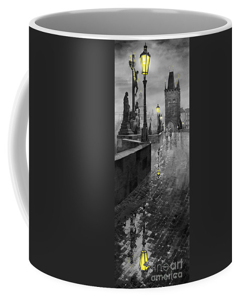 Prague Coffee Mug featuring the painting Bw Prague Charles Bridge 01 by Yuriy Shevchuk