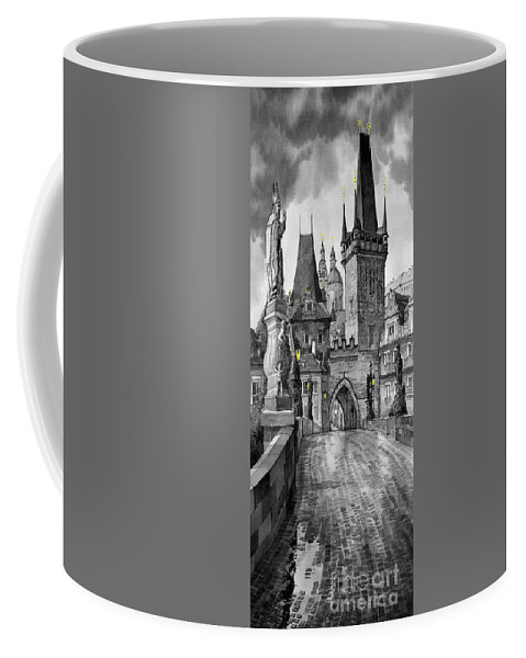 Prague Coffee Mug featuring the painting Bw Prague Charles Bridge 02 by Yuriy Shevchuk