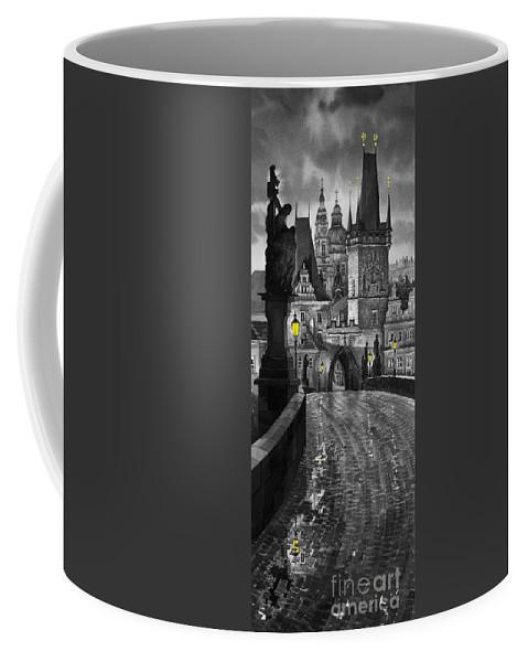 Prague Coffee Mug featuring the painting Bw Prague Charles Bridge 03 by Yuriy Shevchuk