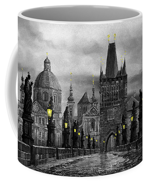 Prague Coffee Mug featuring the painting Bw Prague Charles Bridge 04 by Yuriy Shevchuk