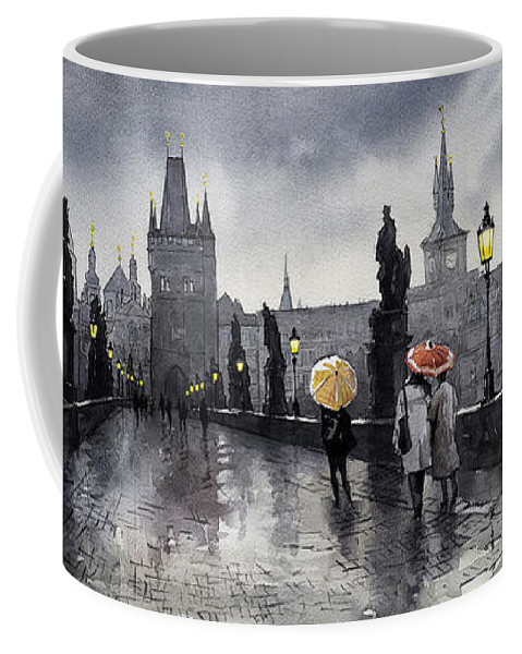 Prague Coffee Mug featuring the painting Bw Prague Charles Bridge 05 by Yuriy Shevchuk